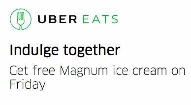 Helados magnum gratis con UberEATS
