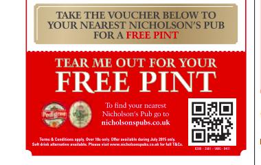 cerveza gratis en Nicholsons