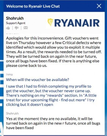 Chat con Ryanair